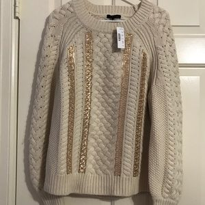 NWT J. Crew Cable Knit Sequined Sweater Medium